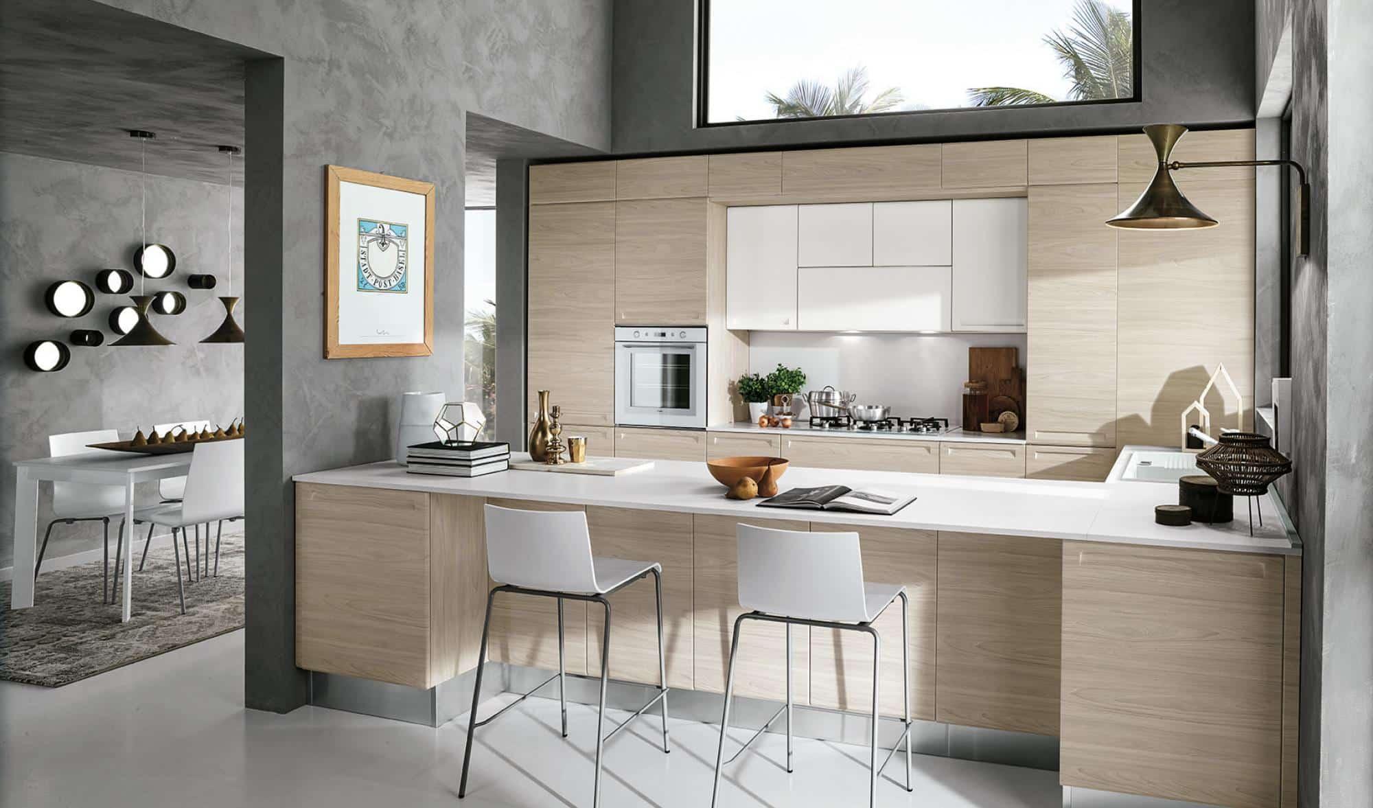 Isla κουζινα σε φυσικο χρωματισμο με λευκο πολυμερικο με ενσωματωμενη λαβη και ρετρο υφος