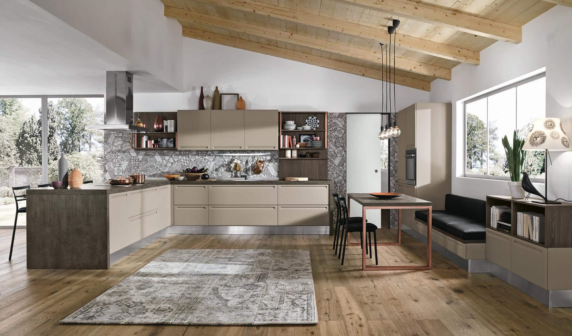 Isla κουζινα γκρι-μπεζ χρωματισμο πολυμερικο με ενσωματωμενη λαβη και ρετρο υφος