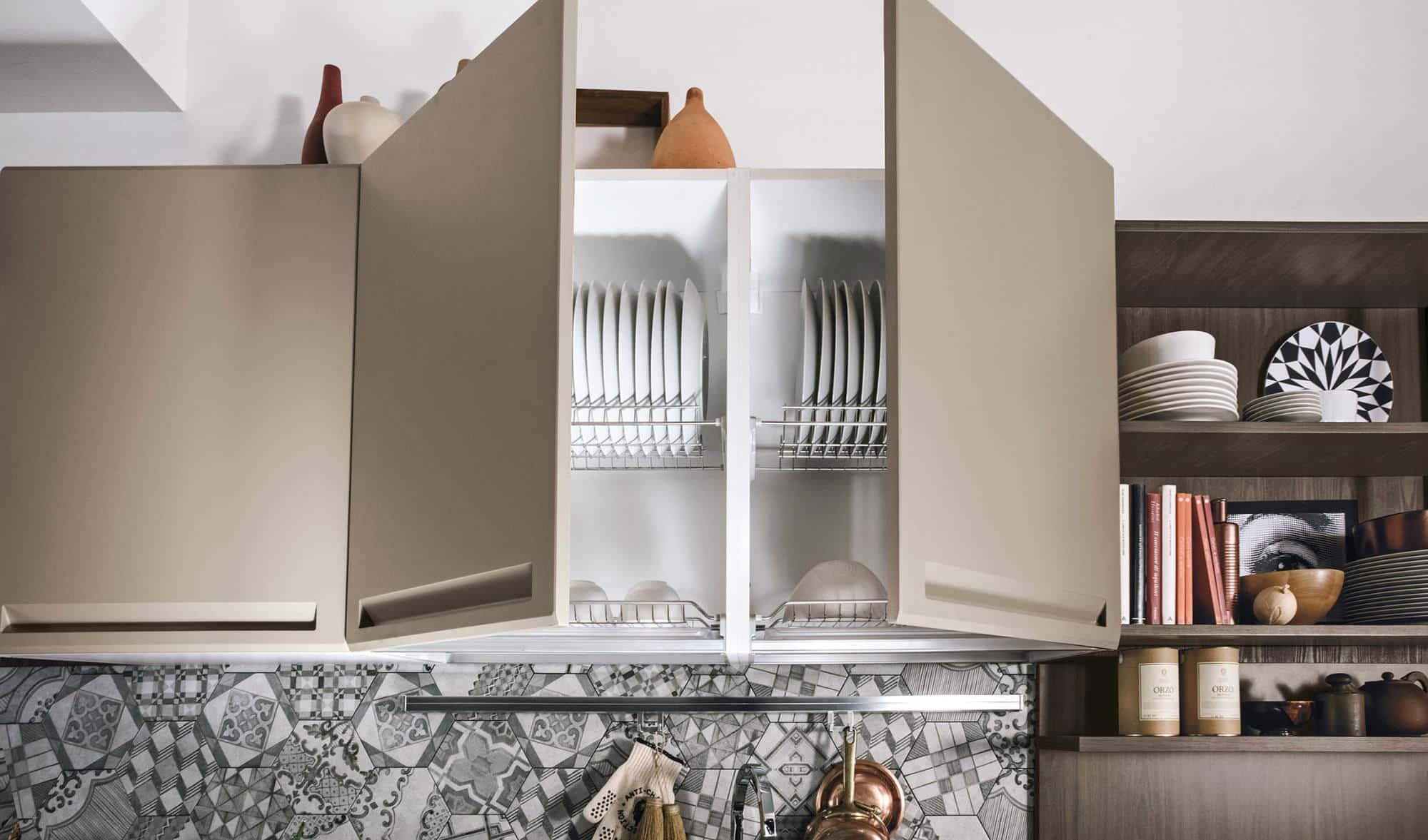 Isla κουζινα γκρι-μπεζ χρωματισμο πολυμερικο με ενσωματωμενη λαβη και ρετρο υφος λεπτομερειες