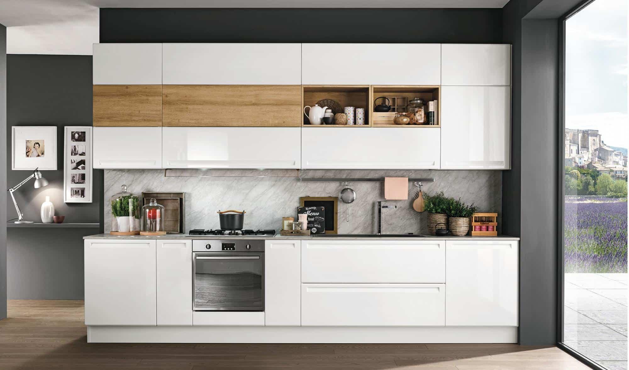 Κουζίνα ματ πολυμερες Isla λευκό και φυσικο χρωματισμο πολυμερικο με ενσωματωμενη λαβη και ρετρο υφος