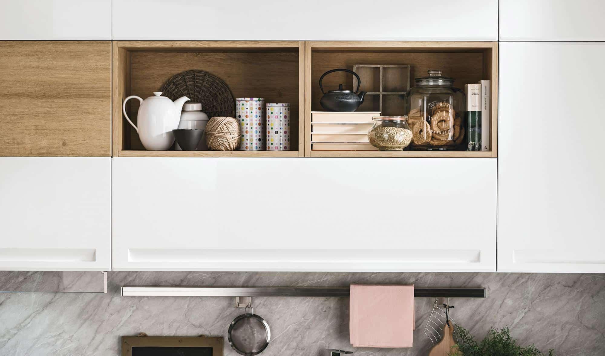Isla κουζινα λευκό και φυσικο χρωματισμο πολυμερικο με ενσωματωμενη λαβη και ρετρο υφος λεπτομερειες