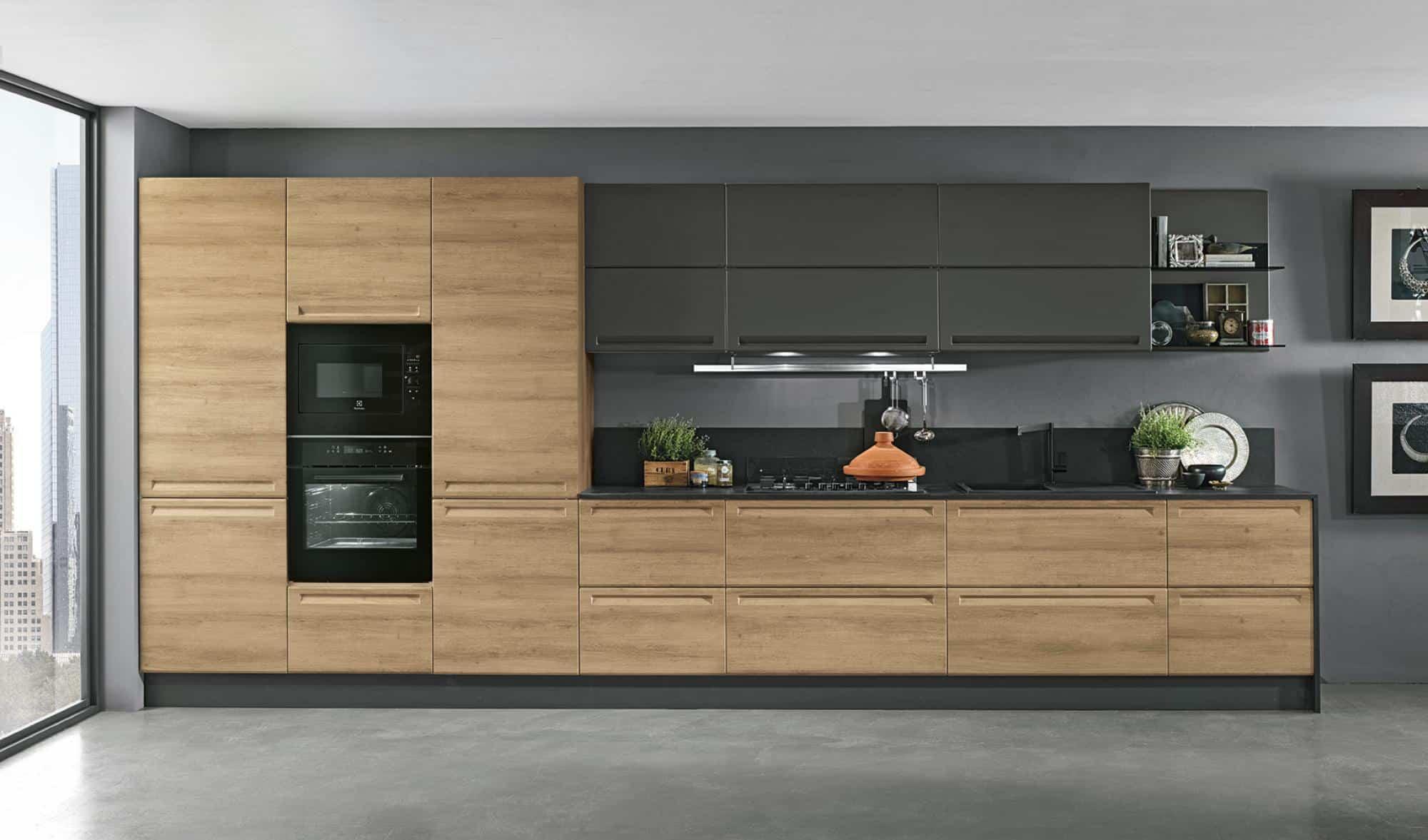 Κουζίνα ματ πολυμερες Isla φυσικο και γκρι χρωματισμο πολυμερικο με ενσωματωμενη λαβη και ρετρο υφος λεπτομερειες