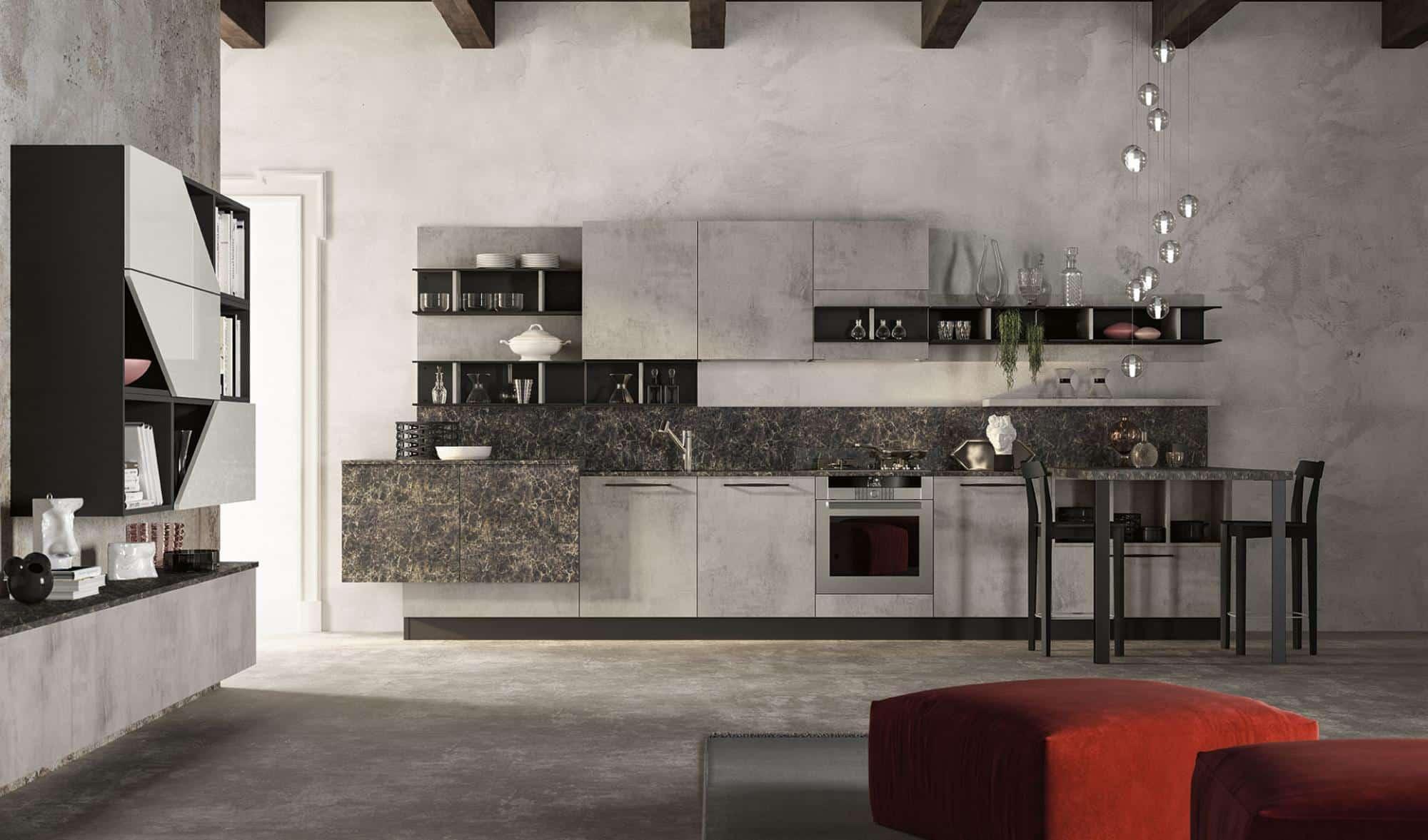 Lungomare κουζινα χωρις πομολο με υφη τσιμέντου και μάρμαρου