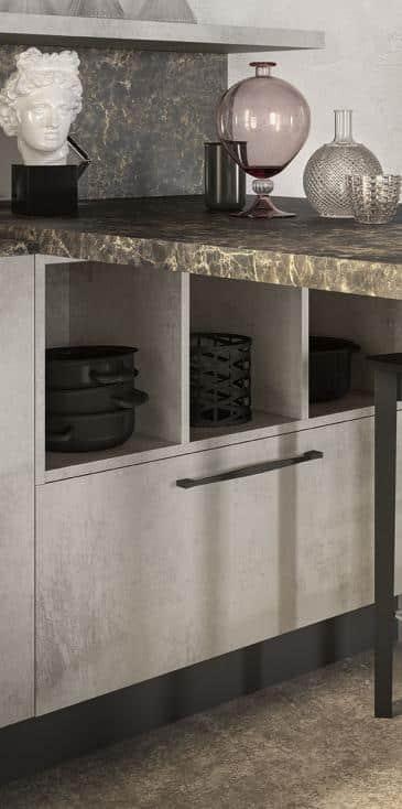 Lungomare κουζινα χωρις πομολο με υφη τσιμέντου και μάρμαρου λεπτομερειες