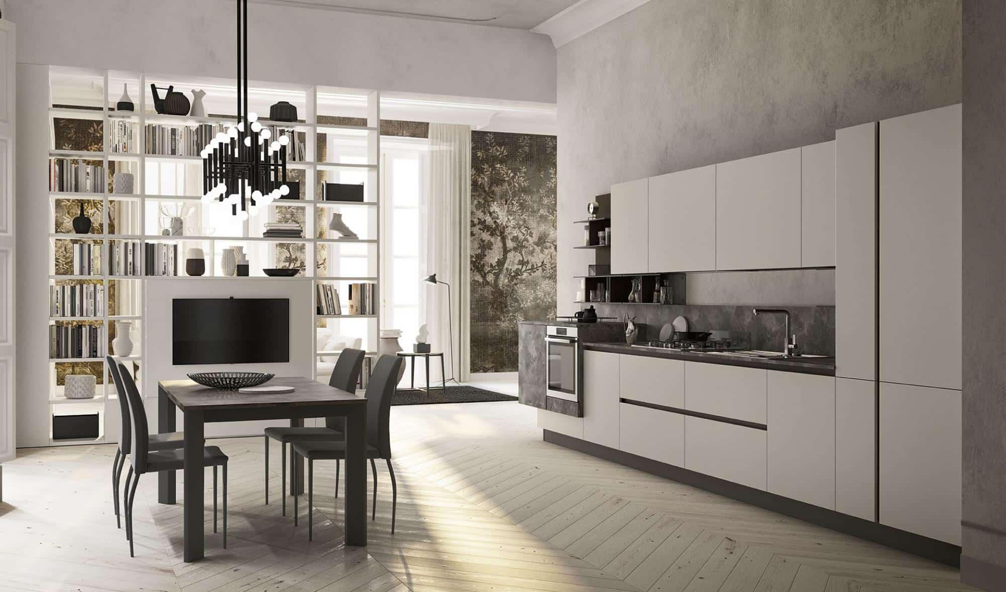 Lungomare κουζινα χωρις πομολο λευκό ματ και μάρμαρου