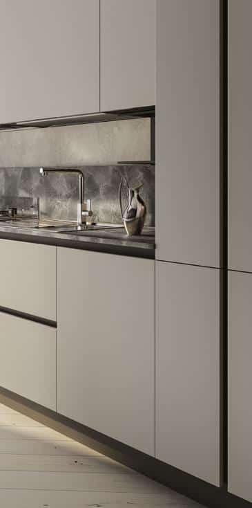 Lungomare κουζινα χωρις πομολο λευκό ματ και μάρμαρου λεπτομερειες