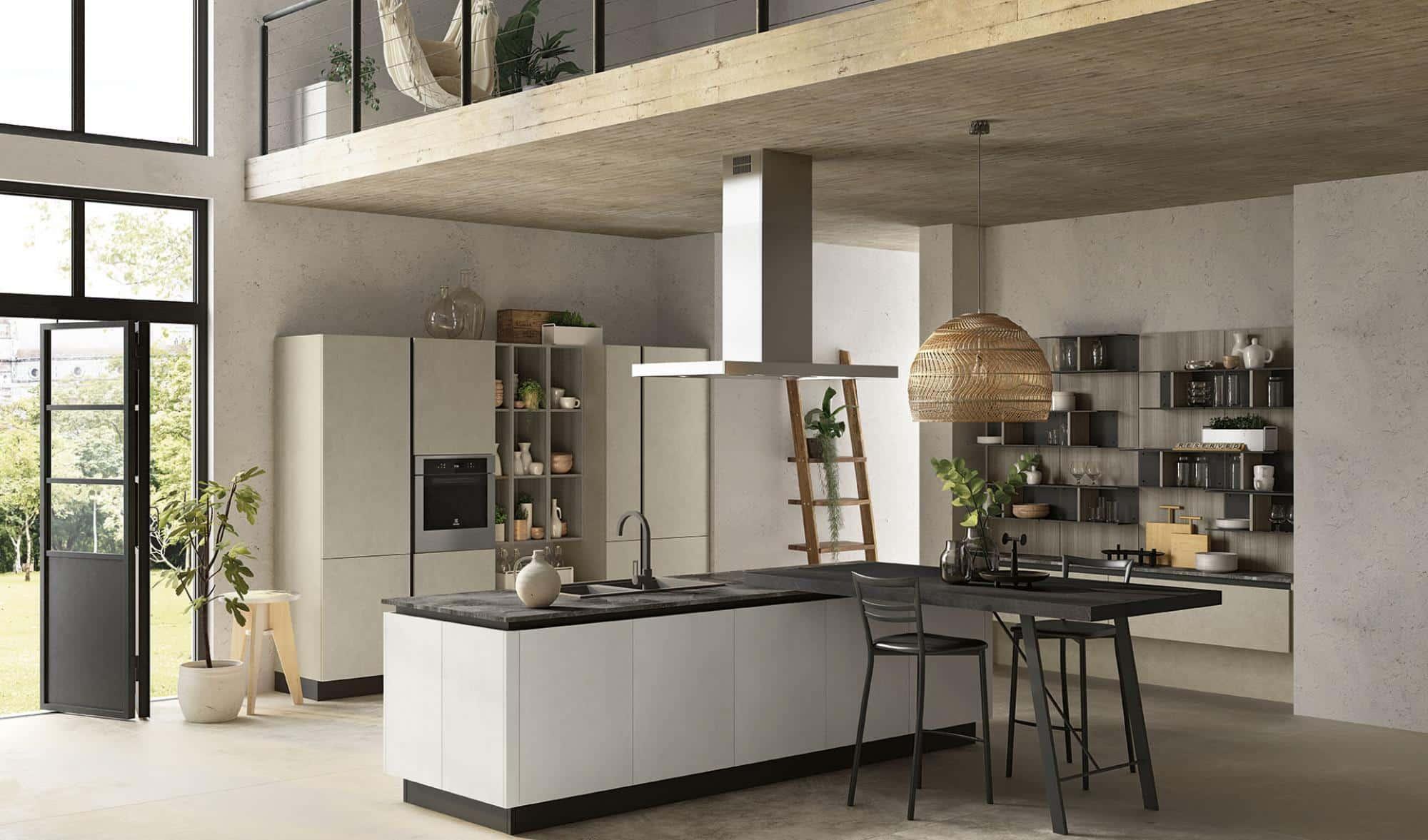 Lungomare κουζινα χωρις πομολο με υφη τσιμέντου λευκο