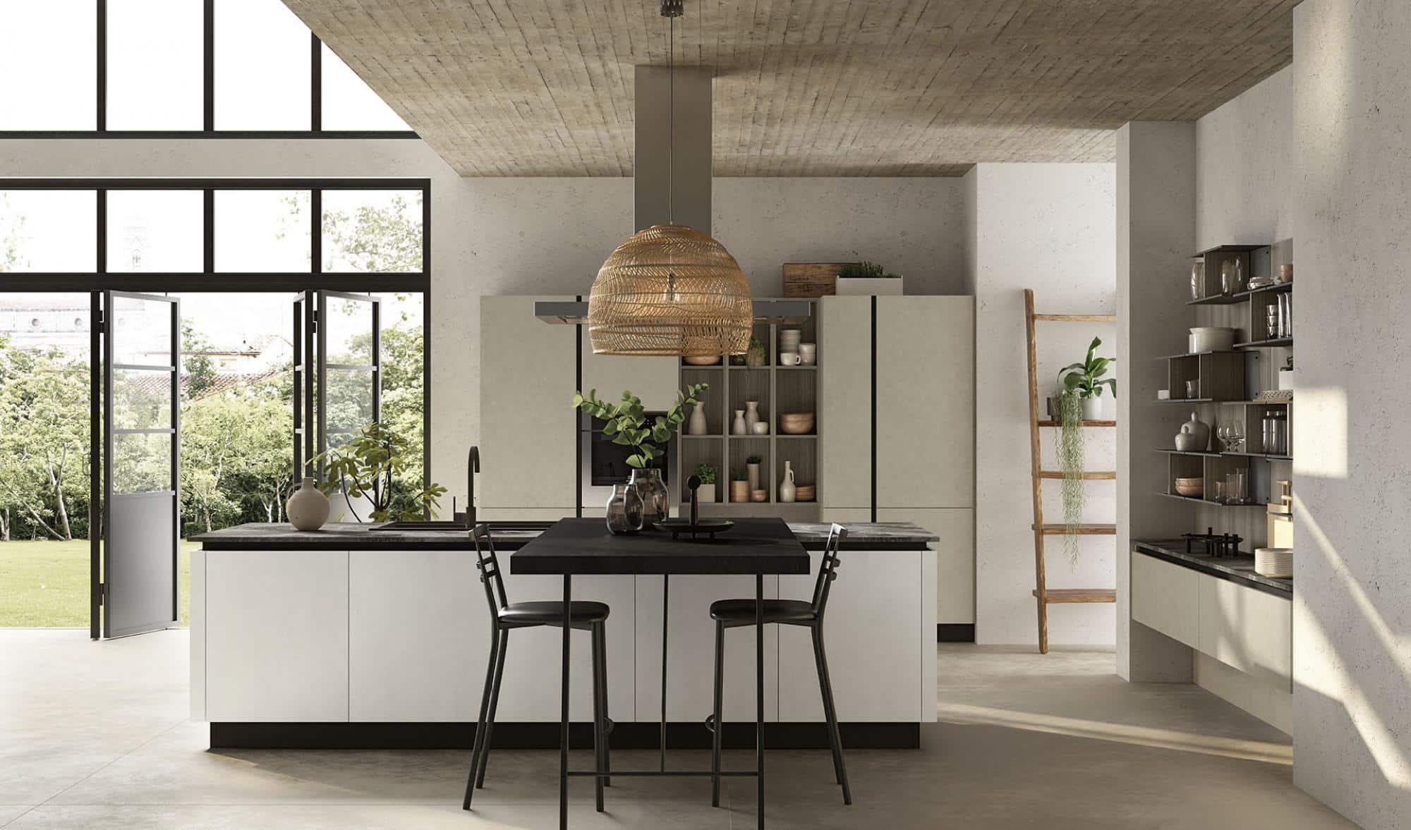 Lungomare κουζινα χωρις πομολο με υφη τσιμέντου λευκο λεπτομερειες