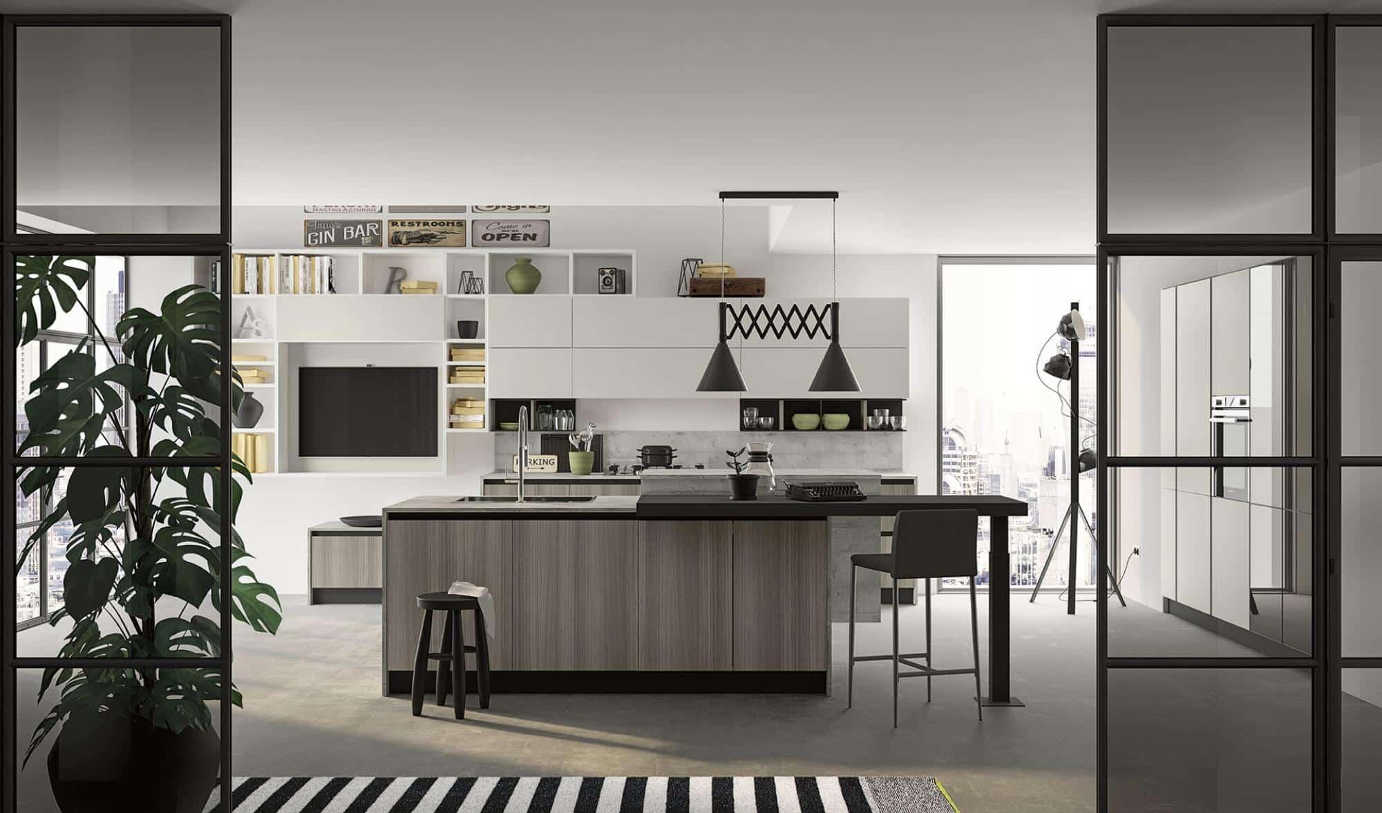 Lungomare κουζινα χωρις πομολο με υφη γκρι ξυλου και λευκη ματ λακα