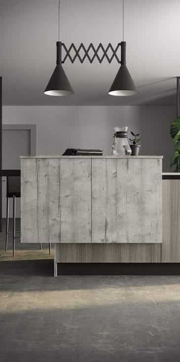 Lungomare κουζινα χωρις πομολο με υφη γκρι ξυλου και λευκη ματ λακα λεπτομερειες