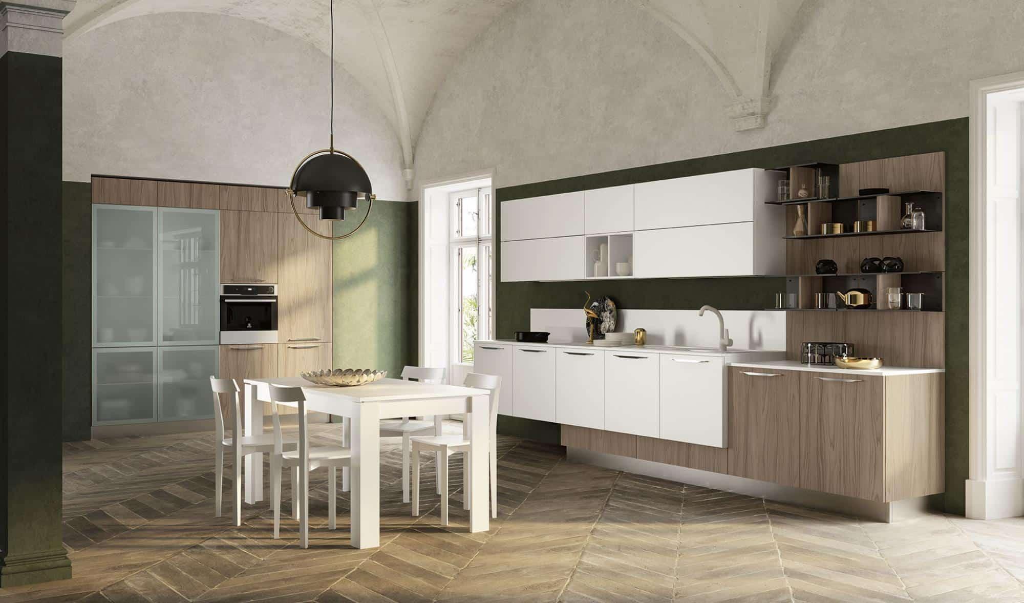 Lungomare κουζινα χωρις πομολο με υφη φυσικου ξυλου και λευκη ματ λακα
