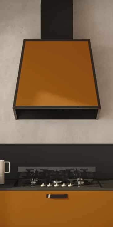 Lungomare πορτοκαλι ματ λακα και ανθρακι αξεσουαρ