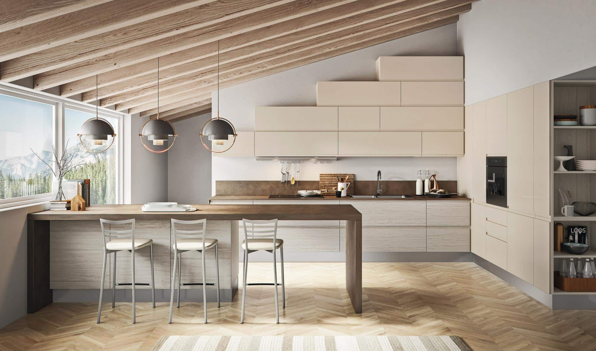 Πολυμερικη κουζινα μπεζ της αμμου με ενσωματωμενη λαβη