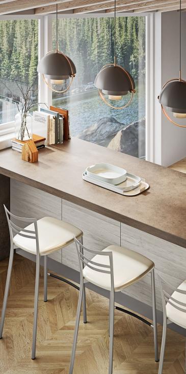 Κουζινα σε πολυμερικο μπεζ της αμμου με ενσωματωμενη λαβη