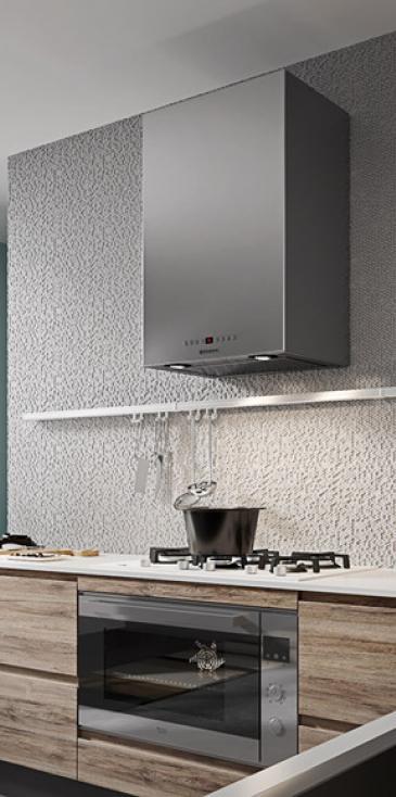 Κουζινα σε βακελιτη γκρι-καφε και λευκό πολυμερικο γυαλιστερο