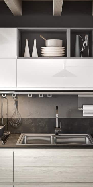 Κουζινα σε βακελιτη λευκο δρυς και λευκό πολυμερικο γυαλιστερο