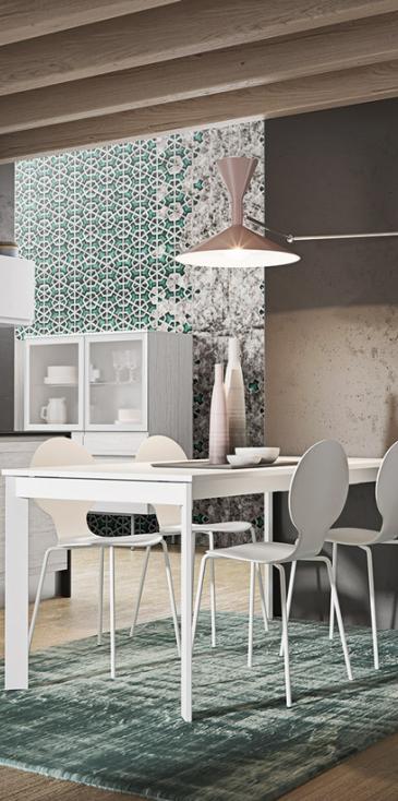 Πολυμερικη κουζινα σε βακελιτη λευκο δρυς και λευκό πολυμερικο γυαλιστερο