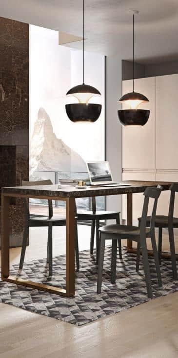 Πολυμερικη κουζινα σε βακελιτη καφε αντικε και μπεζ πολυμερικο γυαλιστερο