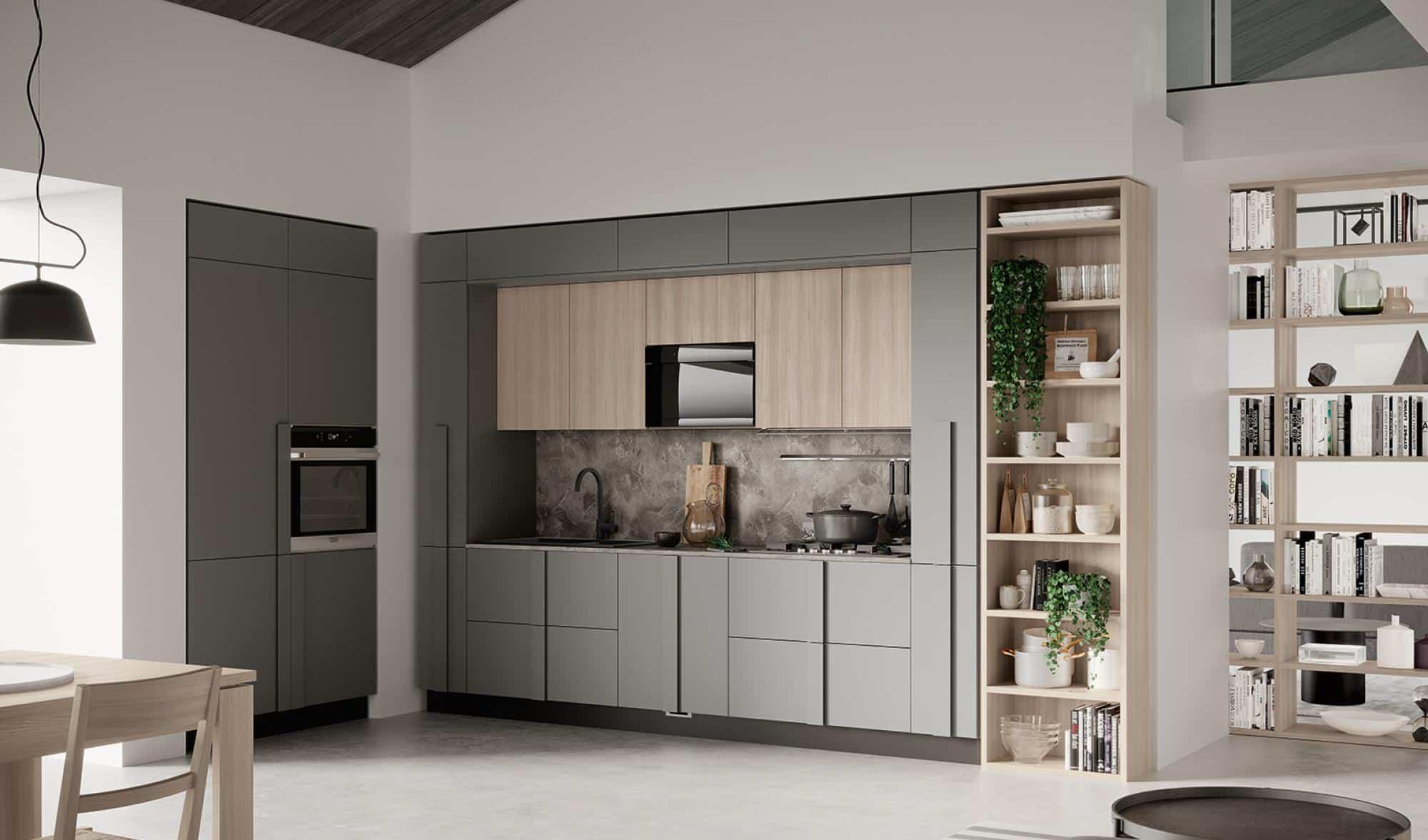Κουζινα σε γκρι ματ και υφη ξυλου με ιδιο χρωματισμο μεγαλο πομολο