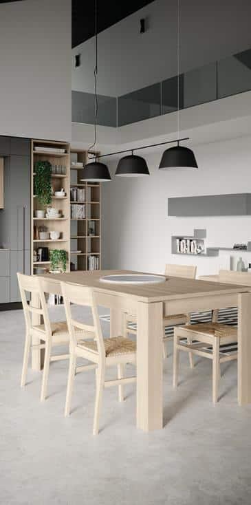 Κουζινα μελαμινη σε γκρι ματ και υφη ξυλου με ιδιο χρωματισμο μεγαλο πομολο