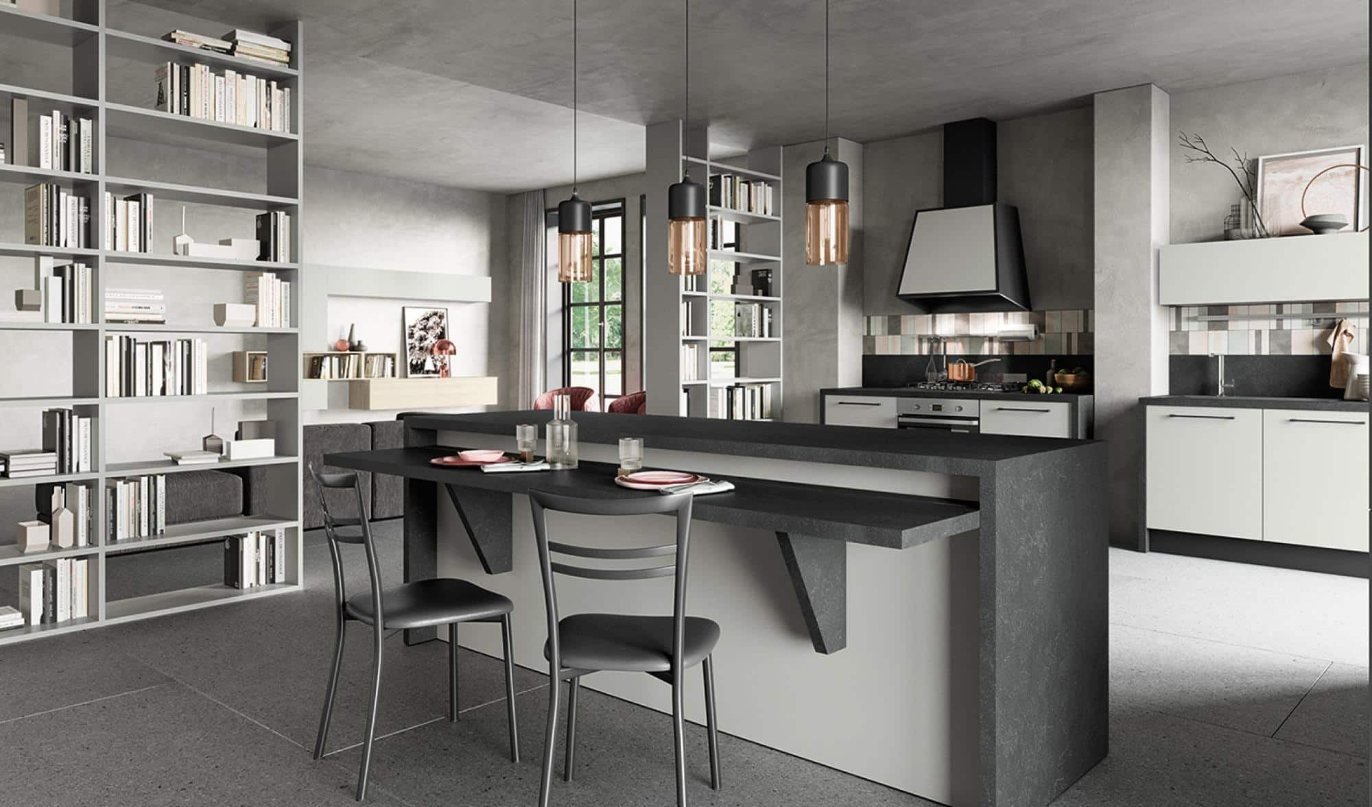 Κουζινα μελαμινης σε γκρι dorian με βιτρινες ανθρακι και παγκο μαυρο