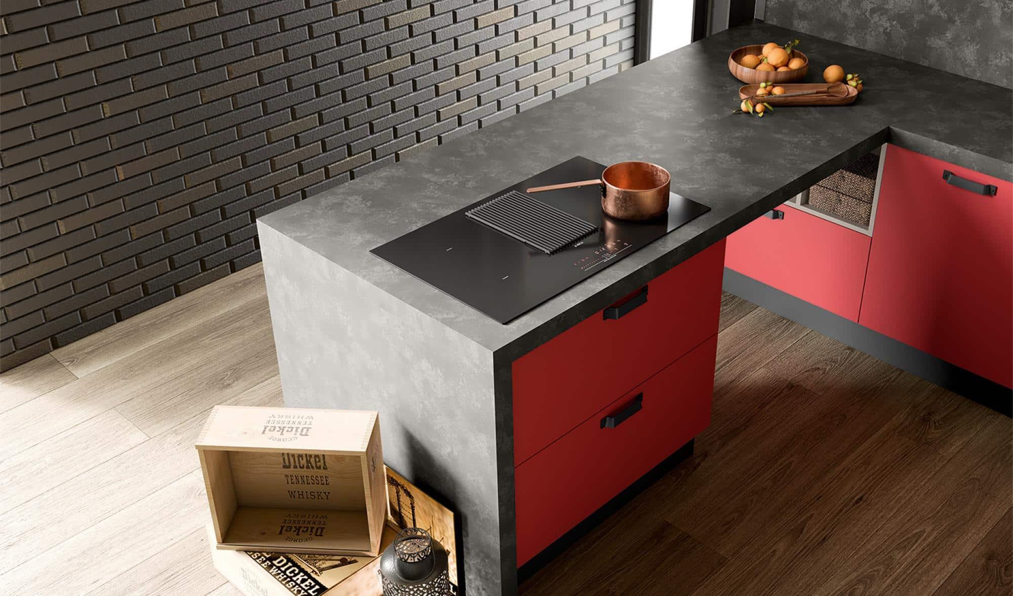 Κουζινα μελαμινη σε κοκκινο με μπεζ ματ χρωματισμο