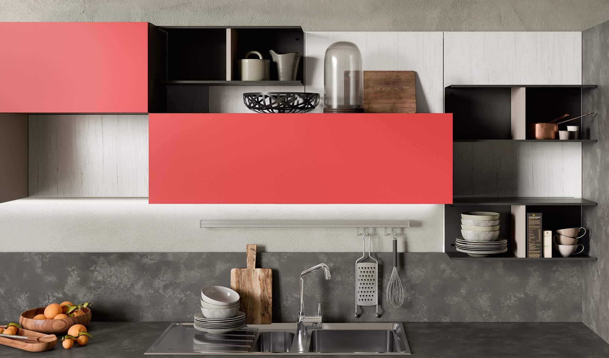 Κουζινα σε κοκκινο με μπεζ ματ χρωματισμο