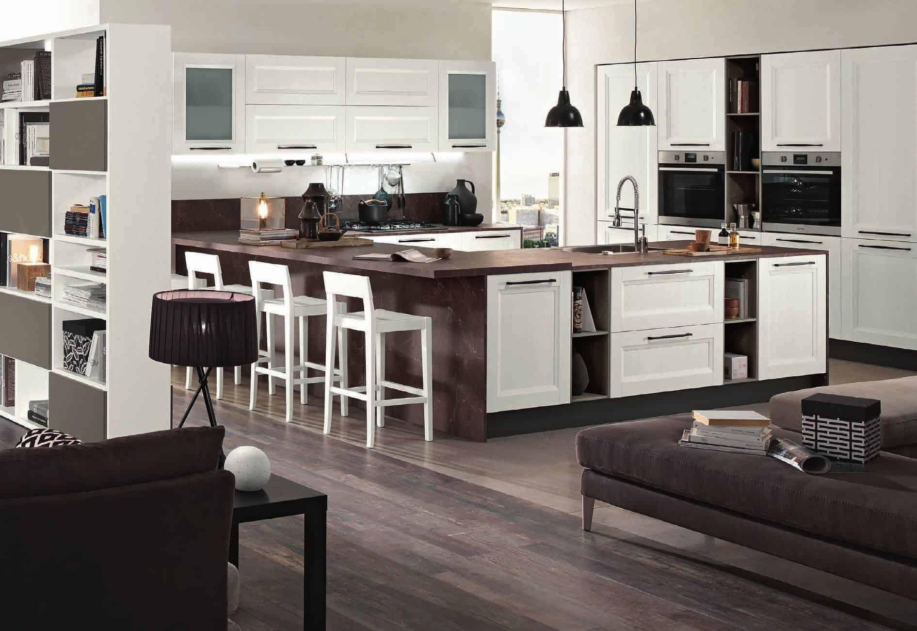 Κουζίνα Lamitex σε λευκο ματ αναγλυφο χρωματισμο με παγκο υφη μαρμαρου
