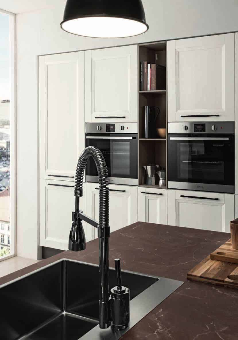 Κουζινα Lamitex σε λευκο ματ αναγλυφο χρωματισμο με παγκο υφη μαρμαρου