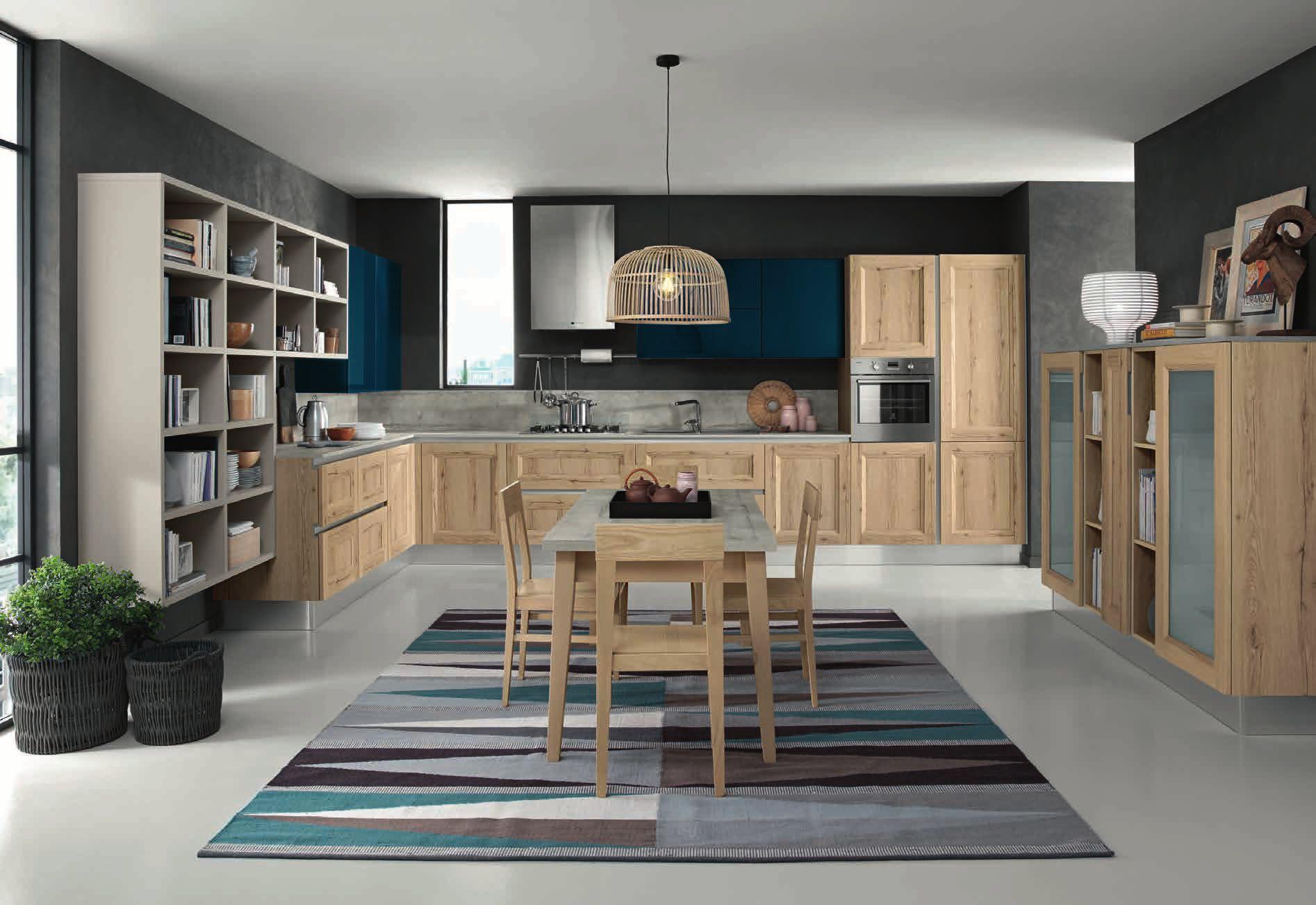Κουζίνα Lamitex σε φυσικο ξυλο χρωματισμο και γυαλιστερή λακα πετρολ με παγκο υφη τσιμεντου
