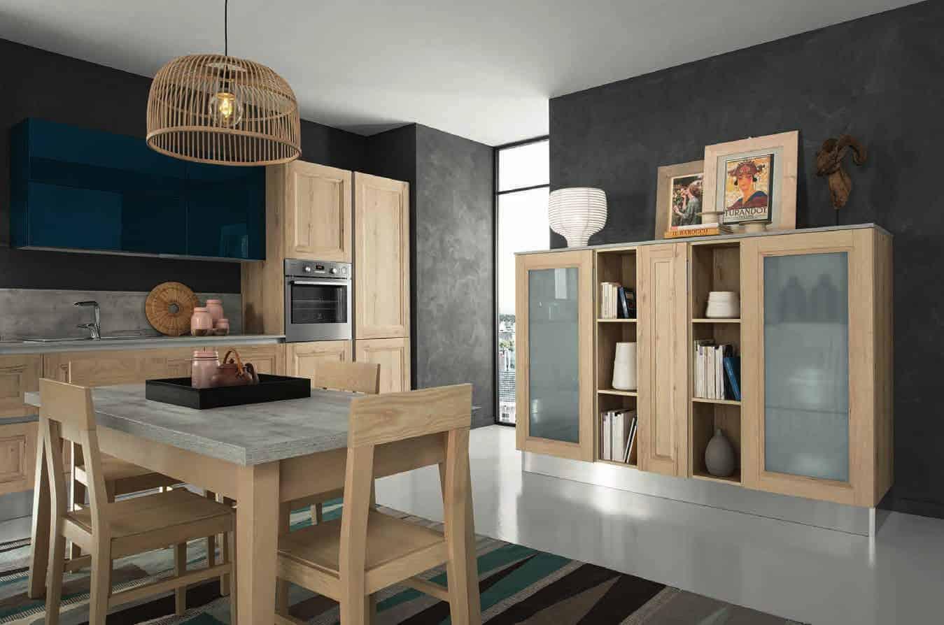 Κουζινα Lamitex σε φυσικο ξυλο χρωματισμο και γυαλιστερή λακα πετρολ με παγκο υφη τσιμεντου