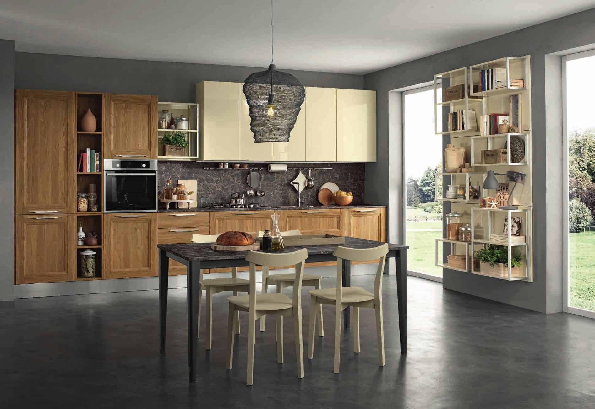 Κουζίνα Lamitex σε καρυδια ξυλο χρωματισμο και γυαλιστερή λακα ιβουαρ με παγκο υφη μαρμαρου