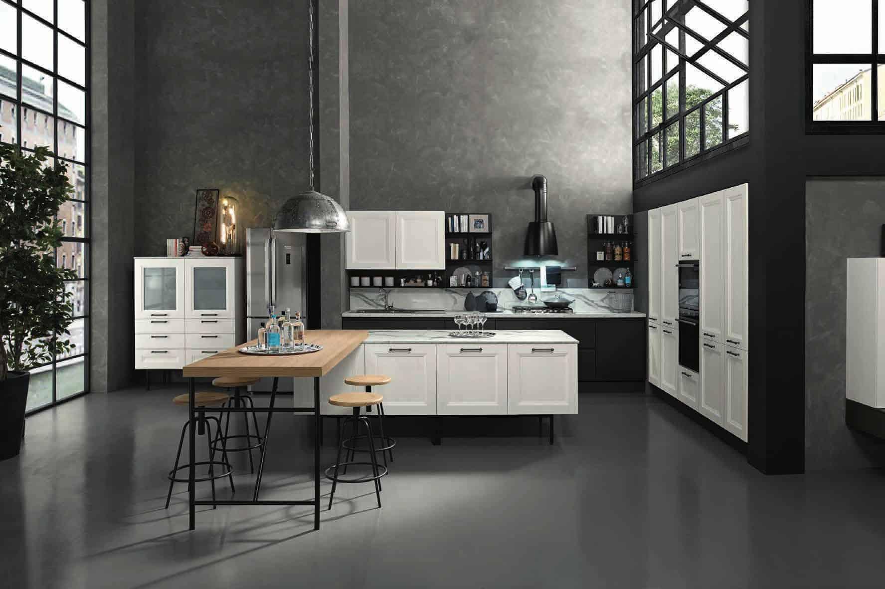 Κουζίνα Lamitex σε λευκο χρωματισμο και παγκο υφη μαρμαρου calacatta