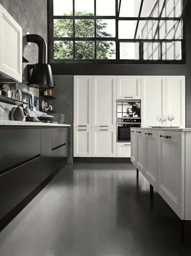 Κουζινα Lamitex σε λευκο χρωματισμο και παγκο υφη μαρμαρου calacatta