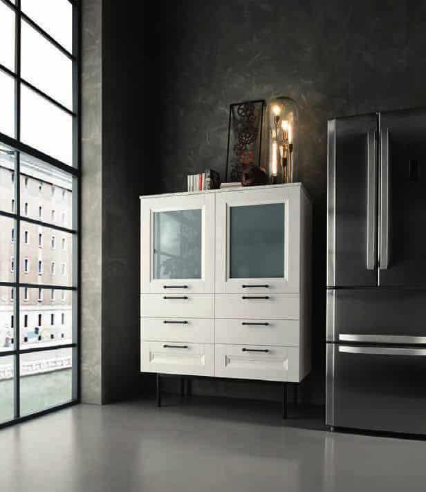 Επιπλα κουζινας Lamitex σε λευκο χρωματισμο και παγκο υφη μαρμαρου calacatta