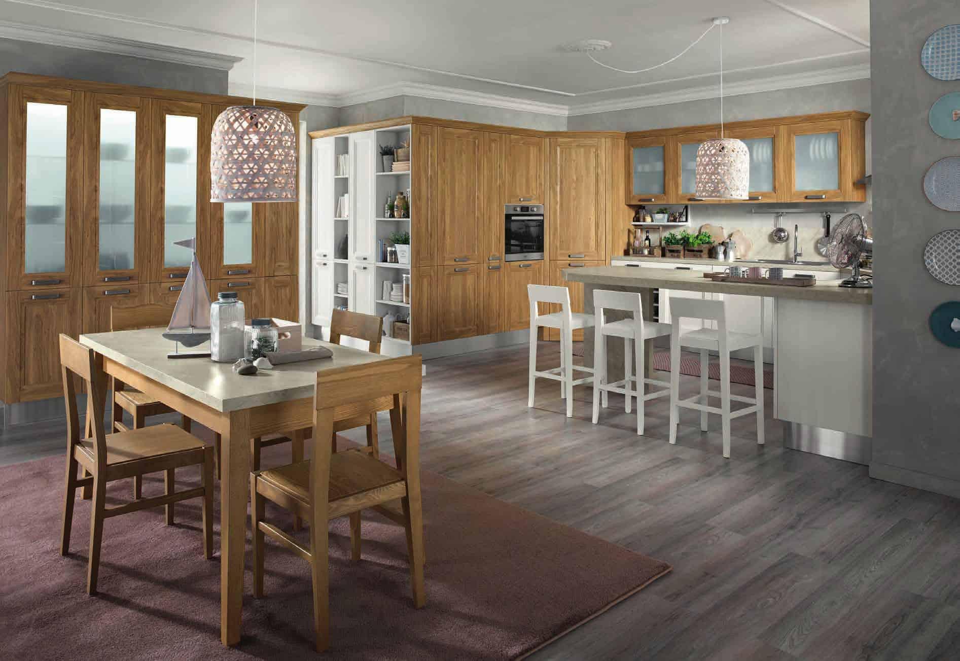 Κουζίνα Lamitex σε καρυδια ξυλο χρωματισμο και λευκο με παγκο υφη μαρμαρου