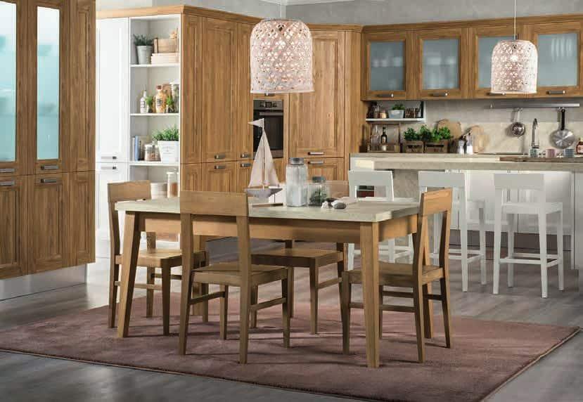 Κουζινα Lamitex σε καρυδια ξυλο χρωματισμο και λευκο με παγκο υφη μαρμαρου