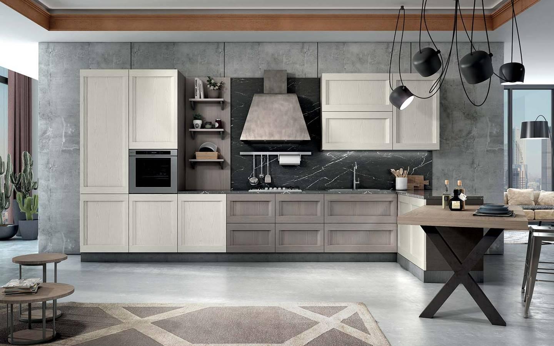 κουζινα ημιμασιφ σε λευκό και ταμπά χρωματισμό