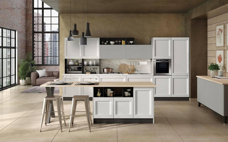κουζίνα ημιμασίφ σε λευκό και λάκα τσιμέντο χρωματισμό